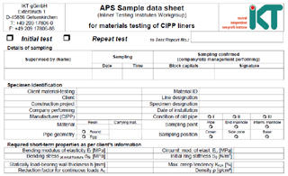 Sample data sheet