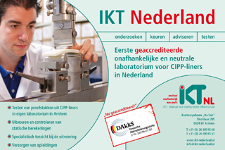 Since 2013 IKT's impartial and independent CIPP-liner testing has been available in our new laboratory in the Netherlands