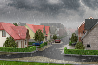 graphics showing a neighbourhood in heavy rain with flooding