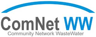 blue and grey on white logo of ComNet WW
