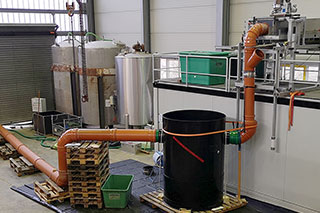 Test set-up for testing a stormwater treatment plant